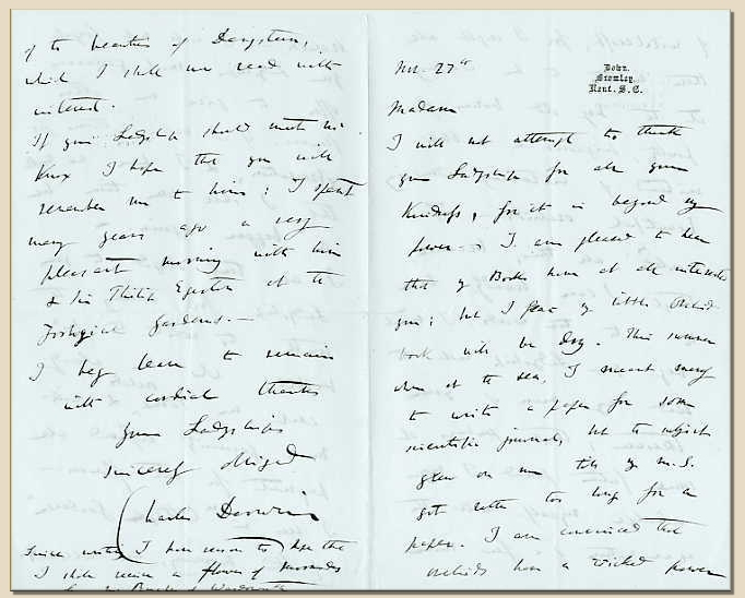 Charles Darwin Letters 10 Down House And The Origin Of Species