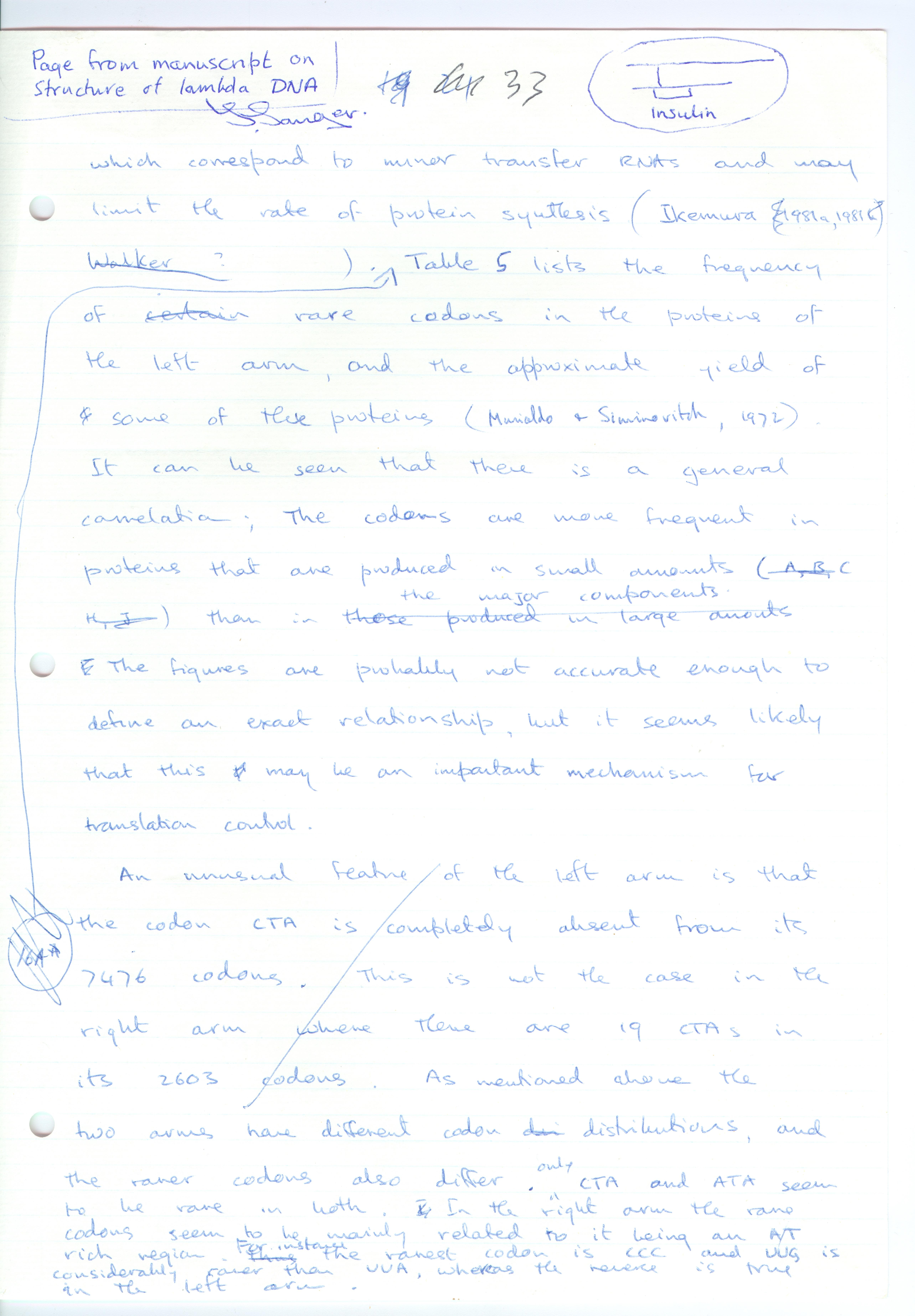 Frederick Sanger Signed Manuscript