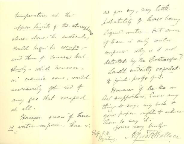 Alfred Russel Wallace  Handwritten Letter